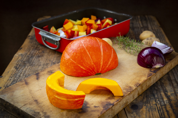 chopped vegetables hokkaido pumpkin potatoes bell