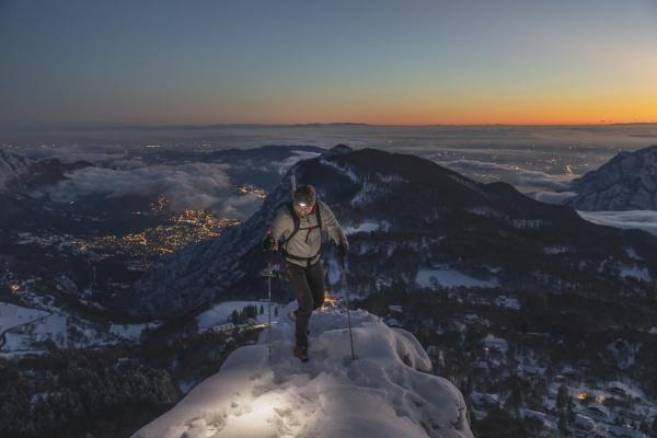 mountaineer on the mountain summit during