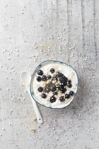 bowl of yogurt with chokeberries blackberries