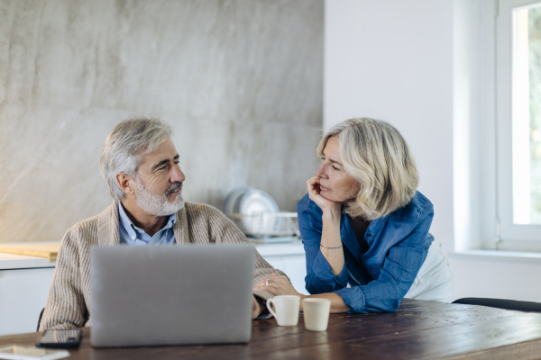 mature man with wife using laptop
