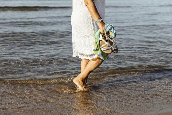 close up of senior woman wading