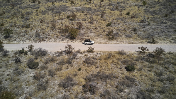 aerial view of a jeep driving