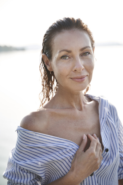 portrait of mature woman with wet