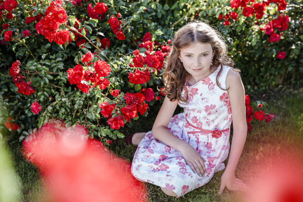 portrait of girl wearing summerdress with