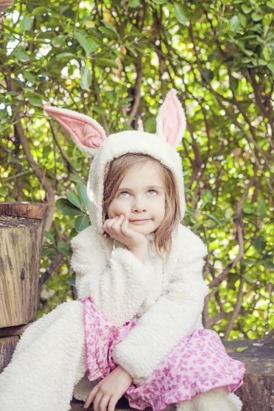 portrait of little girl wearing easter