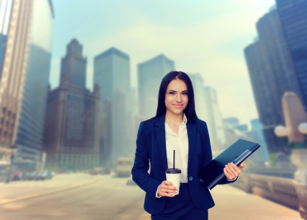 business woman with notebook and coffee