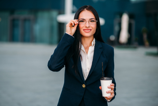 young business woman in glasses and