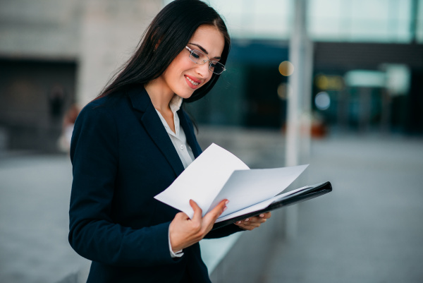 businesswoman in suit works business