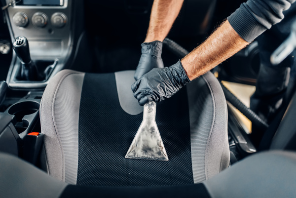 dry cleaning of car interior with