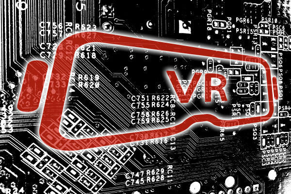 virtual reality icon with circuit board