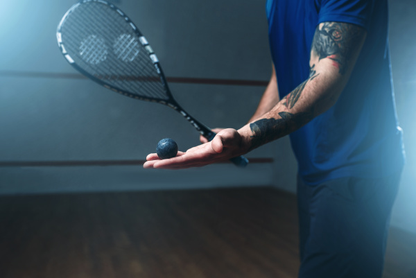 male, squash, player, training, on, indoor - 28076489