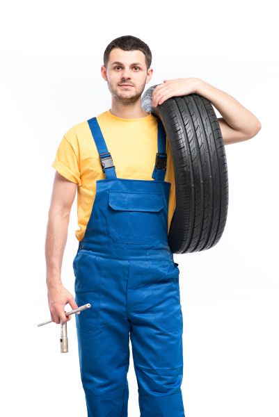 tire, serviceman, isolated, on, white, background - 28078098