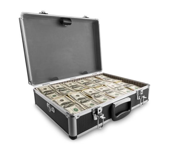 case full of dollar on white