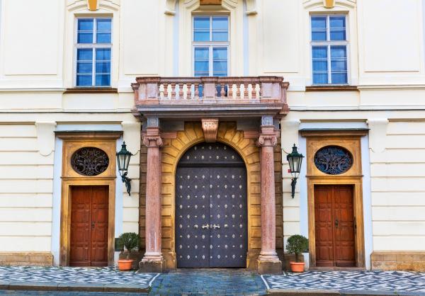 ancient building with big doors old