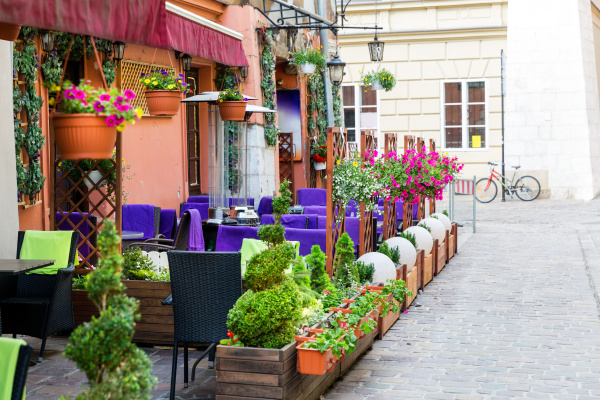 street cafe in ancient european tourist