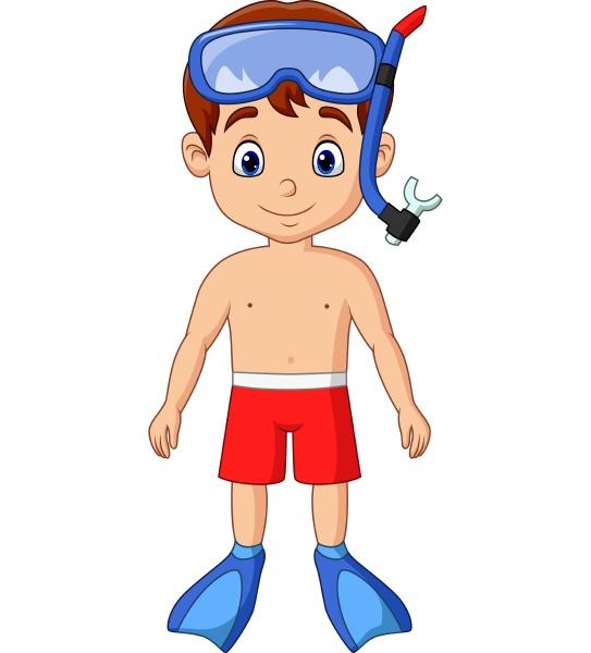 cartoon little boy with snorkeling gear