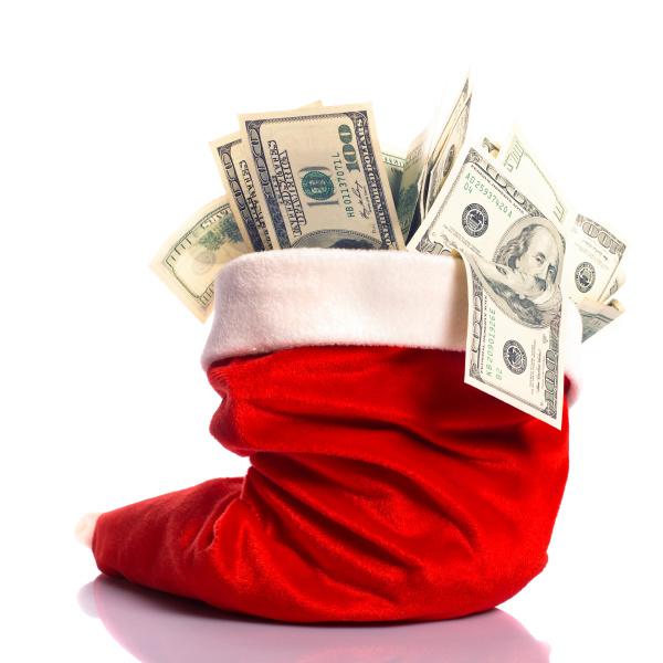 christmas hat full of money