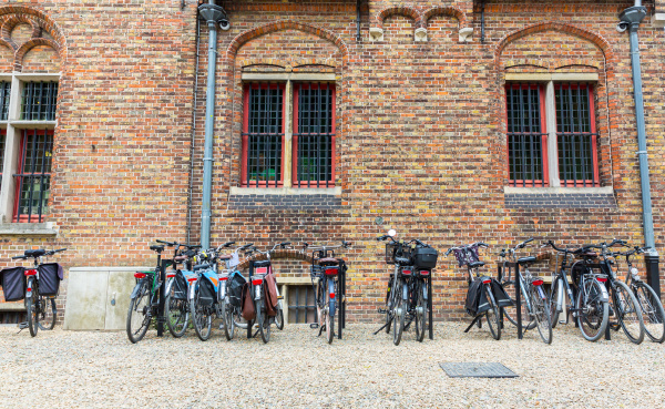 bicycle parking ancient provincial european town