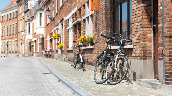 bicycles at ancient building facade european