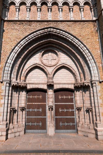 ancient building facade with wooden doors