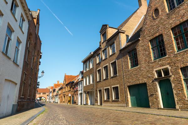 cozy buildings street in old european