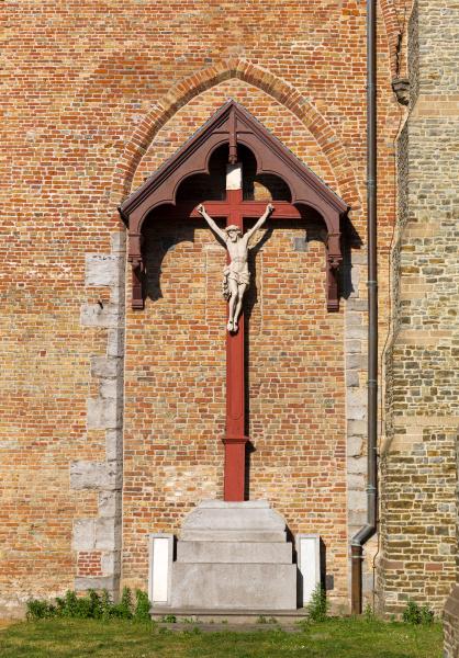 crucifixion at brick wall old european