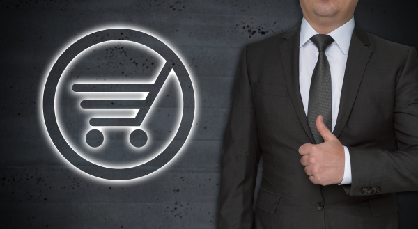 shopping cart concept and businessman with