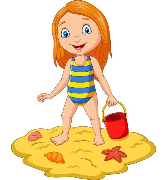 cartoon girl holding bucket sand at