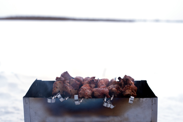 the shish kebab is cooked on