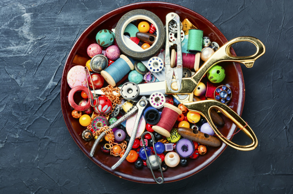 tools and bijouterie for needlework