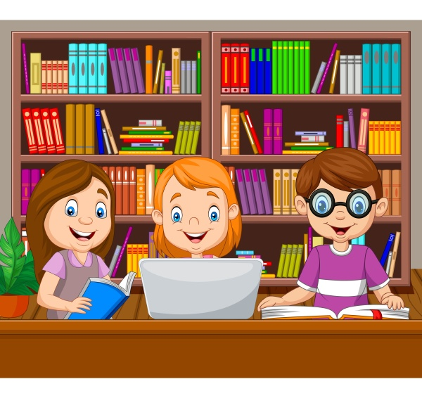 cartoon kids studying in the library