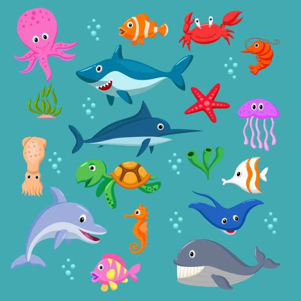 set of cartoon sea animals