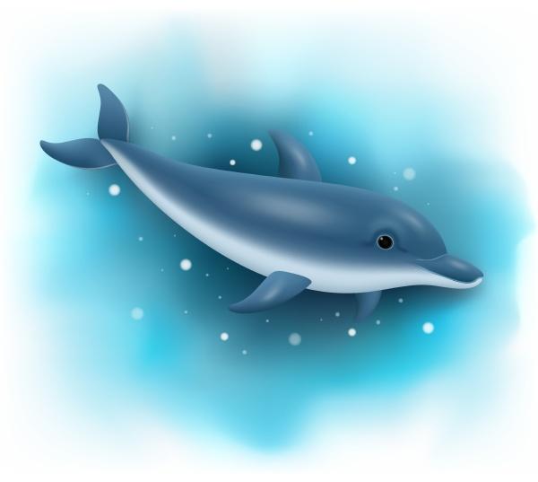 cartoon dolphin swimming in the ocean