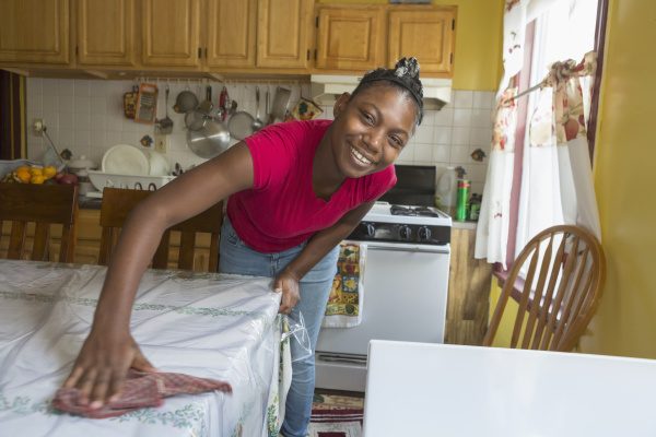 teen suffering from bipolar disorder cleaning