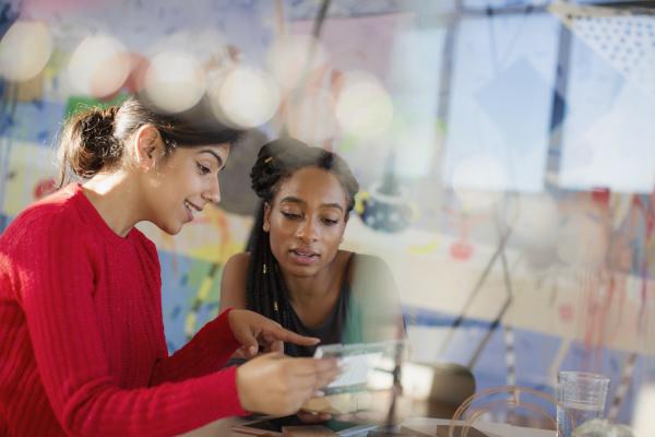 female engineers examining prototype