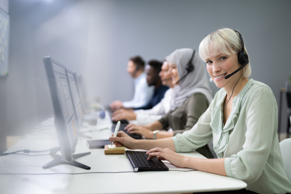 female customer services agent in call