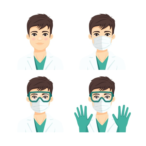 young male doctor wearing protective systems