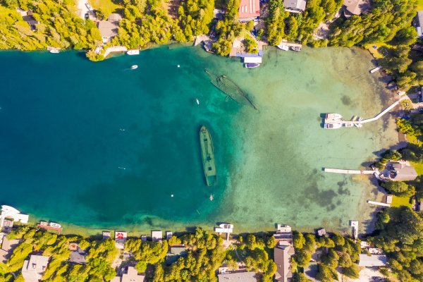 aerial view of tobermory ontario canada