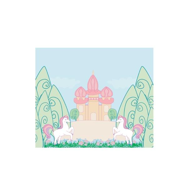 fairytale card with magic castle and