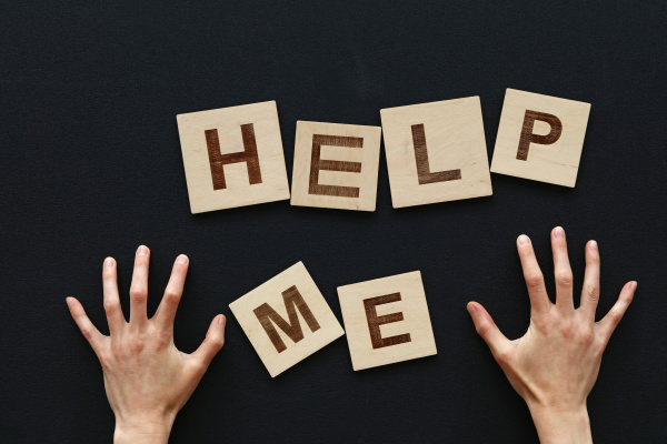 help me wooden sign with woman