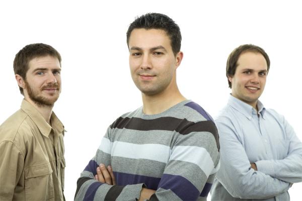 three casual men