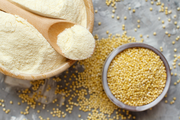 hulled millet flour and grain top