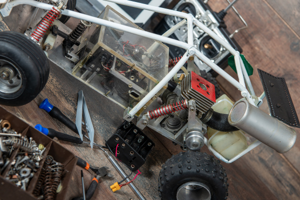 radio controlled car model with tools