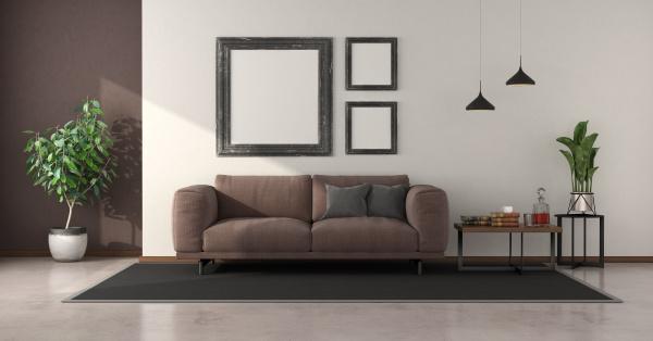 minimalist living room with brown sofa