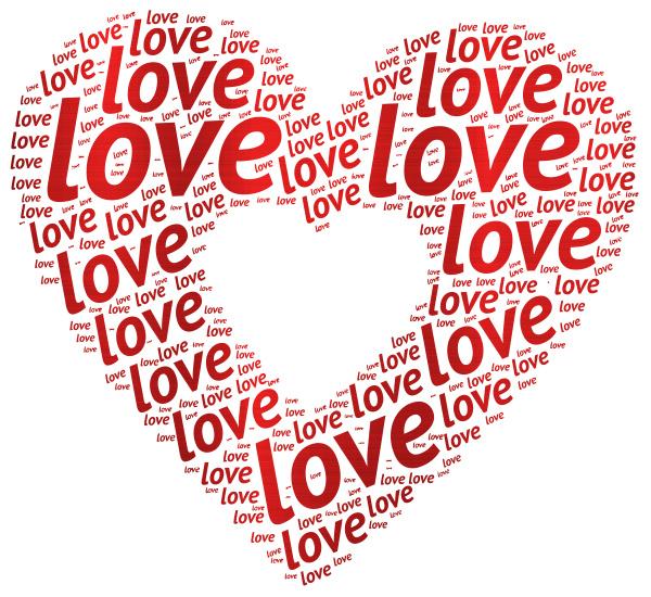 love heart text many shape red