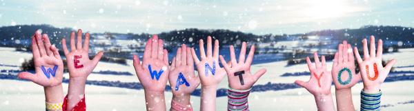 children hands building word we want