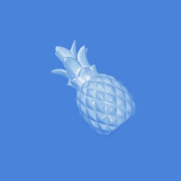 blue pineapple on a pink background
