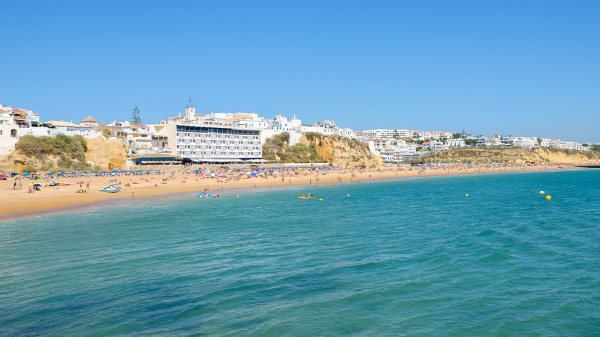 view of crowded beach in albufeira