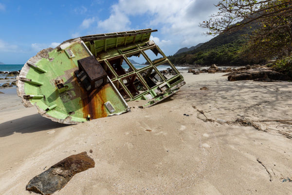 boats wreck on a beach of