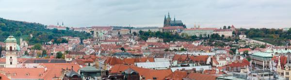 panoramic view of prague old town